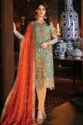 Embroidery Work Light Cyan Green Color Georgette Pakistani Salwar Kameez