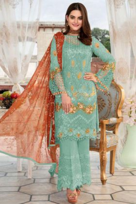 Embroidery Work Light Cyan Green Color Heavy Net Pakistani Dress