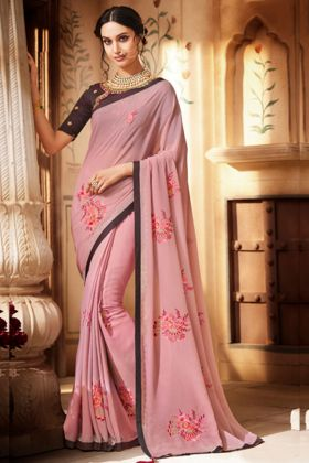 Embroidery Work Light Pink Color Chiffon Saree