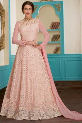 Embroidery Work Light Pink Color Georgette Anarkali Dress With Nazneen Dupatta