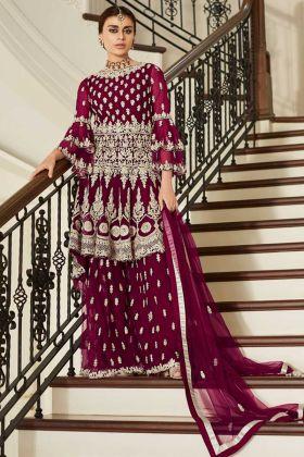 Embroidery Work Magenta Color Net Sharara Salwar Kameez