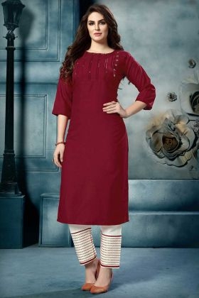 Embroidery Work Maroon Color Cotton Designer Kurti