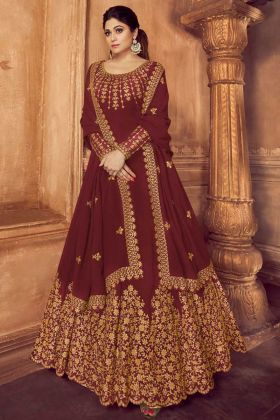 Embroidery Work Maroon Color Georgette Anarkali Salwar Kameez