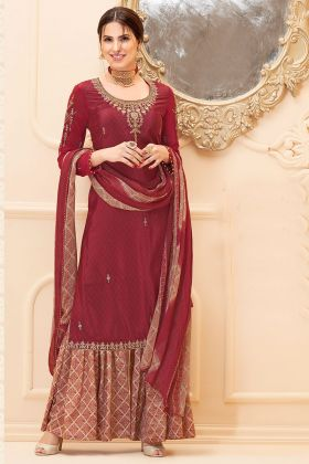 Embroidery Work Maroon Color Pure French Crepe Sharara Salwar Kameez