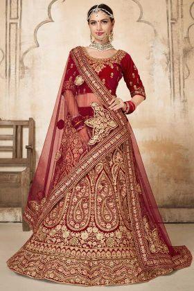 Embroidery Work Maroon Color Velvet Bridal Lehenga Choli