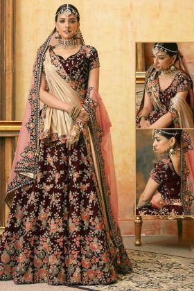 Embroidery Work Maroon Color Velvet Designer Bridal Lehenga Choli