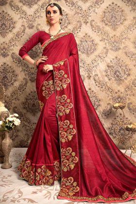 Embroidery Work Maroon Color Vichitra Silk Designer Saree