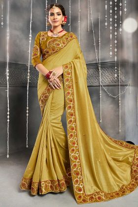 Embroidery Work Mustard Color Chanderi Silk Wedding Saree