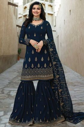 Embroidery Work Navy Blue Color Georgette Sharara Salwar Kameez