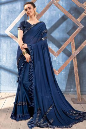 Embroidery Work Navy Blue Color Imported Heavy Lycra Party Wear Ruffle Saree