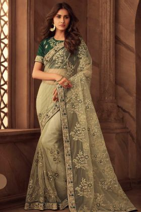 Embroidery Work Net Designer Saree In Off White Color
