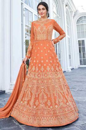 Embroidery Work Orange Color Apple Georgette Anarkali Salwar Kameez