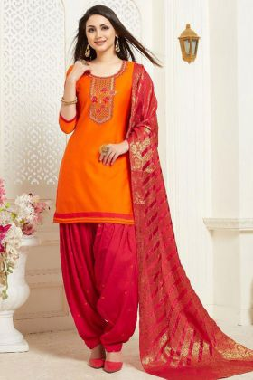 Embroidery Work Orange Color Patiala Salwar Kameez With Banarasi Silk Dupatta