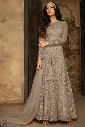 Embroidery Work Pant Style Soft Net Anarkali Dress In Grey Color
