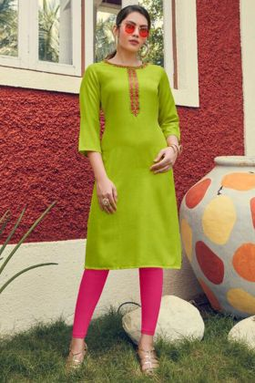 Embroidery Work Parrot Color Heavy Soft Cotton Designer Kurti