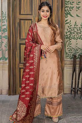 Embroidery Work Peach Color Banarasi Jacquard Palazzo Suit