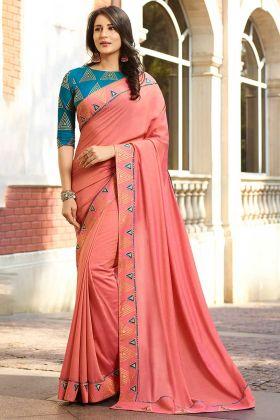 Embroidery Work Peach Color Chanderi Saree