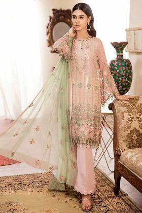 Embroidery Work Peach Color Georgette Pakistani Dress