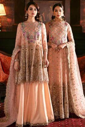 Embroidery Work Peach Color Georgette Pakistani Salwar Kameez