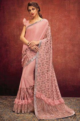 Embroidery Work Peach Color Lycra Designer Saree