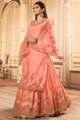 Embroidery Work Peach Color Net Indo Western Salwar Suit