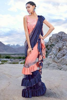 Embroidery Work Pink and Navy Blue Color Imported Fabric Ruffle Saree