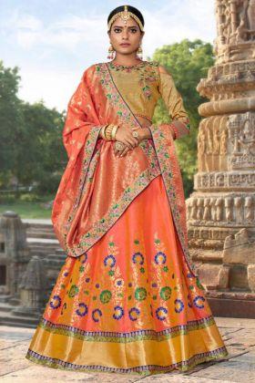 Embroidery Work Pink Color Banarasi Jacquard Designer Lehenga Choli