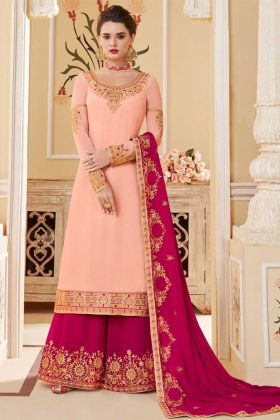 Embroidery Work Pink Color Georgette Palazzo Salwar Kameez