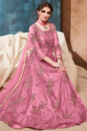 Embroidery Work Pink Color Net Anarkali Dress