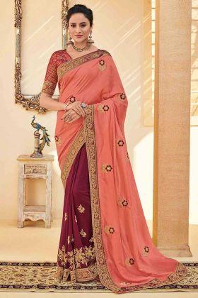 Embroidery Work Pink Color Poly Silk Half and Half Designer Saree