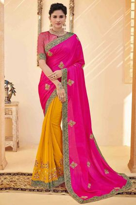 Embroidery Work Pink Color Poly Silk Half and Half Festival Saree