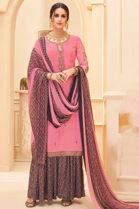 Embroidery Work Pink Color Pure French Crepe Sharara Salwar Kameez