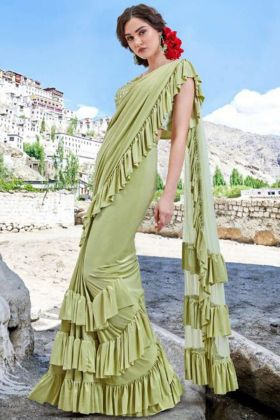 Embroidery Work Pista Color Imported Fabric Designer Ruffle Saree