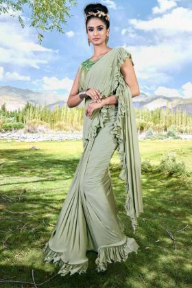 Embroidery Work Pista Color Imported Fabric Ruffle Saree