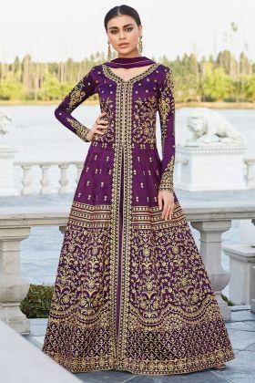 Embroidery Work Purple Color Mulberry Silk Anarkali Salwar Kameez