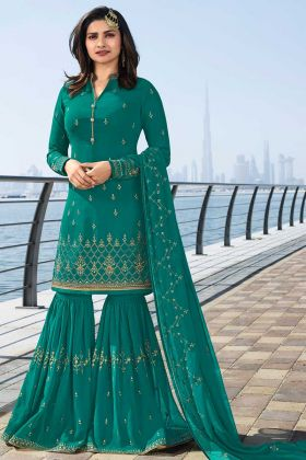 Embroidery Work Rama Color Georgette Sharara Salwar Kameez