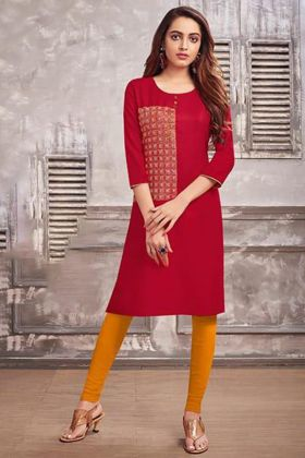 Embroidery Work Red Color Cotton Straight Kurti