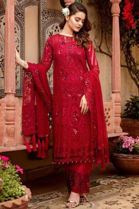 Embroidery Work Red Color Georgette Pakistani Dress