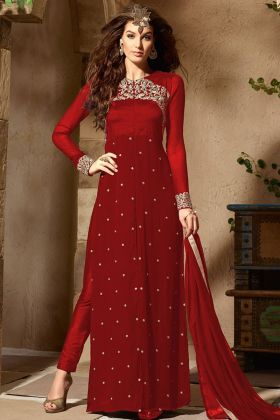 Embroidery Work Red Color Georgette Pant Style Salwar Kameez