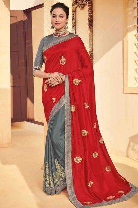 Embroidery Work Red Color Poly Silk Half and Half Saree