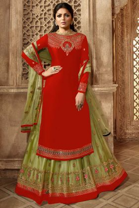 Embroidery Work Red Color Satin Georgette Indo Western Salwar Kameez