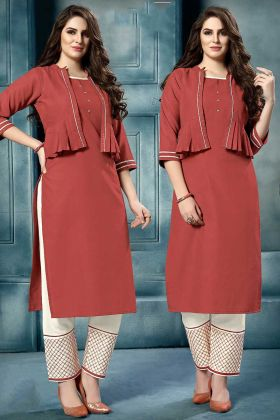 Embroidery Work Rust Red Color Cotton Kurti
