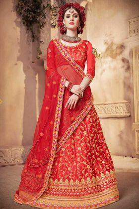 Embroidery Work Satin Silk Red Lehenga Choli With Net Dupatta