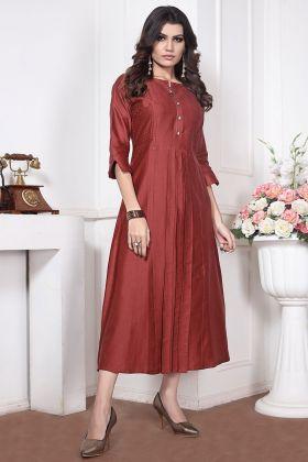 Embroidery Work Silk Cotton Designer Kurti In Red Color