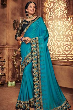Embroidery Work Silk Wedding Saree In Blue Color