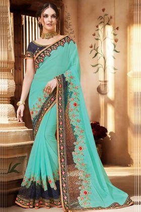 Embroidery Work Sky Blue Color Silk Georgette Wedding Saree