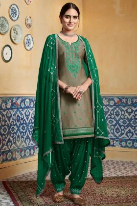 Embroidery Work Tan Color Patiala Salwar Kameez
