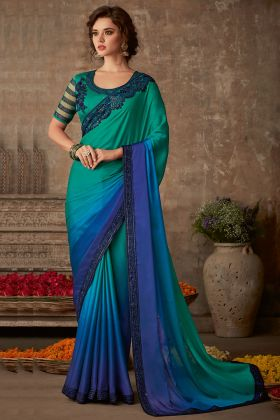 Embroidery Work Teal and Blue Color Organic Silk Chiffon Saree