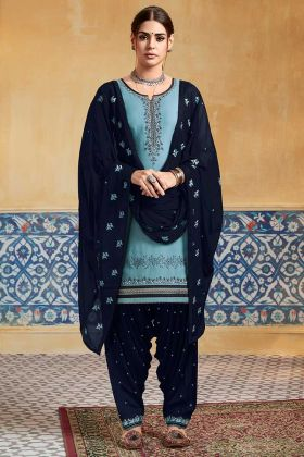 Embroidery Work Teal Blue Color Pure Satin Punjabi Salwar Kameez