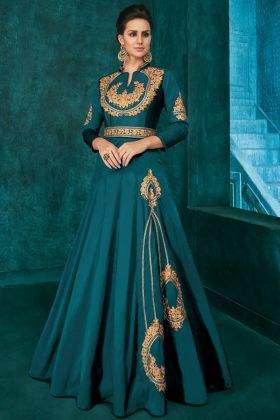 Embroidery Work Teal Blue Color Triva Silk Long Designer Gown